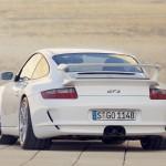 2007 White Porsche 911 GT3 Wallpaper Rear angle view