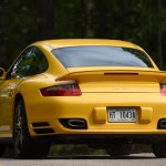 2007 Yellow Porsche 911 Turbo Wallpaper Rear angle view