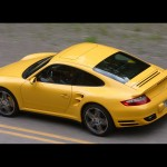 2007 Yellow Porsche 911 Turbo Wallpaper Rear angle side view