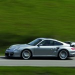 2008 Silver Porsche 911 GT2 Wallpaper Side view