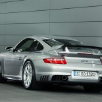 2008 Silver Porsche 911 GT2 Wallpaper Rear angle view