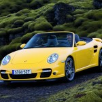 2008 Yellow Porsche 911 Turbo Cabriolet Wallpaper Front angle view
