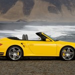 2008 Yellow Porsche 911 Turbo Cabriolet Wallpaper Side view