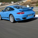 2010 Blue Porsche 911 Turbo Wallpaper Rear angle side view