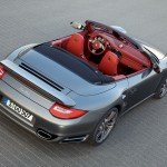 2010 Grey Porsche 911 Turbo Cabriolet Wallpaper Rear angle top view