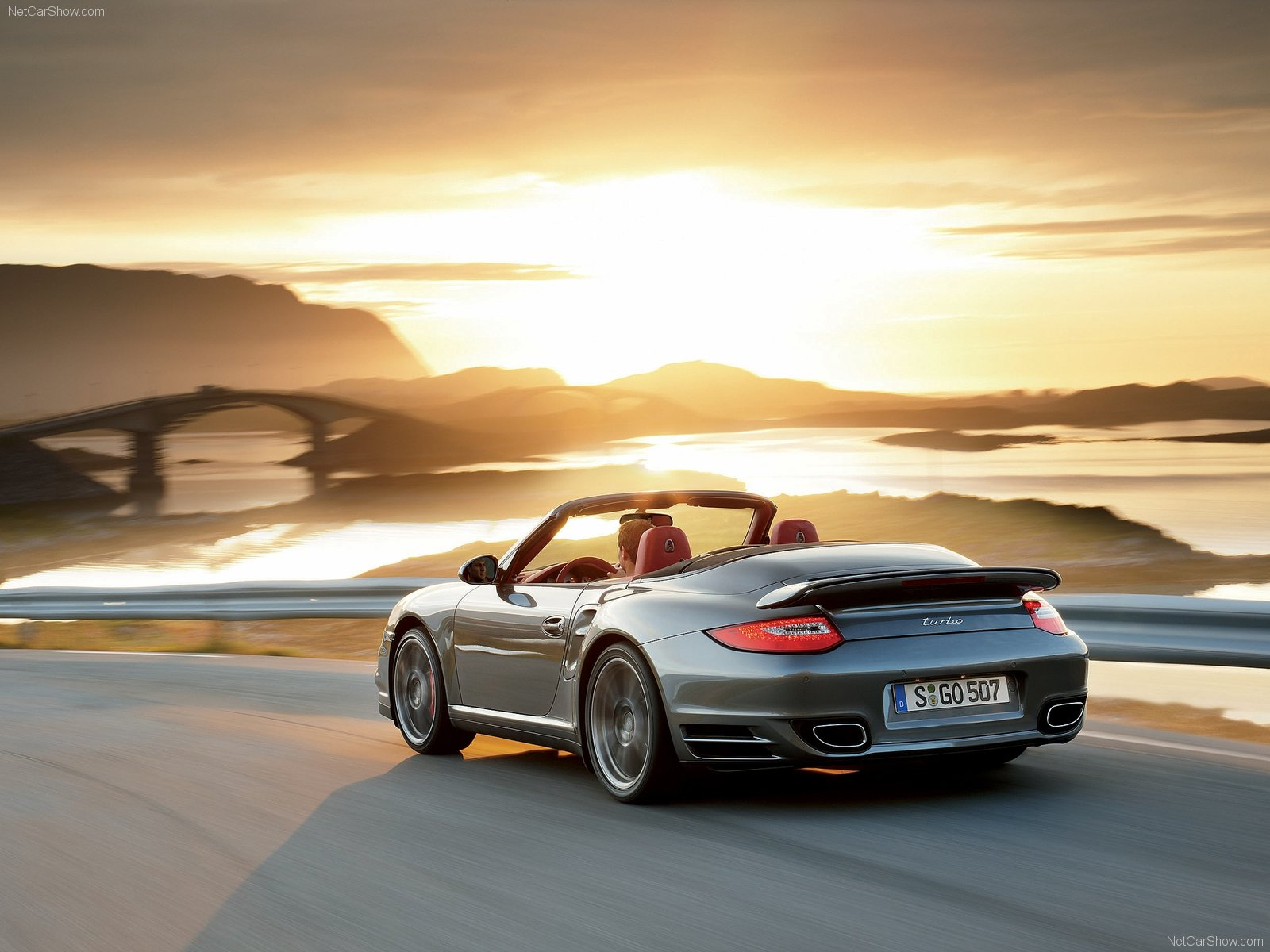 2010 Grey Porsche 911 Turbo Cabriolet Wallpapers