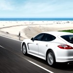 2011 White Porsche Panamera Diesel 3000x1560 wallpaper Rear angle side view