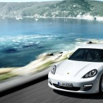 2011 White Porsche Panamera Diesel wallpaper Front angle side view