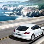 2011 White Porsche Panamera Diesel wallpaper Rear angle side view