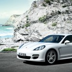 2011 White Porsche Panamera Diesel 3000x1560 wallpaper Front angle side view