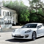 2011 White Porsche Panamera Diesel 3000x1560 wallpaper Fronta angle side view